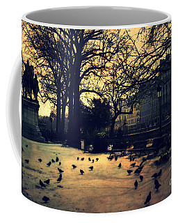 Paris Notre Dame Charlemagne Monument Cathedral Courtyard - Paris Notre Dame Courtyard At Sunset  Coffee Mug by Kathy Fornal