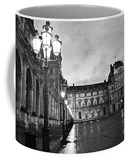 Paris Louvre Museum Lanterns Lamps - Paris Black And White Louvre Museum Architecture Coffee Mug