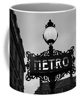 Paris Metro Sign Black And White Art - Ornate Metro Sign At The Louvre - Metro Sign Architecture Coffee Mug by Kathy Fornal
