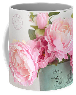 Paris Peonies Shabby Chic Dreamy Pink Peonies Romantic Cottage Chic Paris Peonies Floral Art Coffee Mug