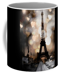 Paris Surreal Fantasy Sepia Black Eiffel Tower Bokeh Hearts And Circles - Paris Eiffel Tower Hearts  Coffee Mug