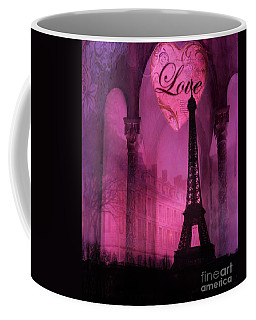 Paris Romantic Pink Fantasy Love Heart - Paris Eiffel Tower Valentine Love Heart Print Home Decor Coffee Mug