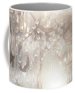 Paris Dreamy White Gold Ghostly Crystal Chandelier Mirrored Reflection - Paris Crystal Chandeliers Coffee Mug
