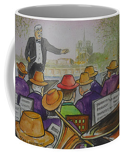Parisian Hat Band Across From Notre Dame Cathedral Coffee Mug by Frank Hunter