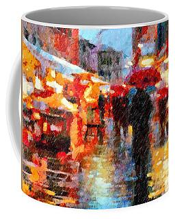 Parisian Rain Walk Abstract Realism Coffee Mug