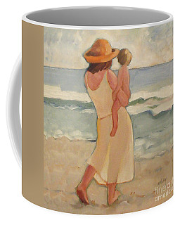 Pastel Morning Beach Pastel Morning Mother And Baby Coffee Mug