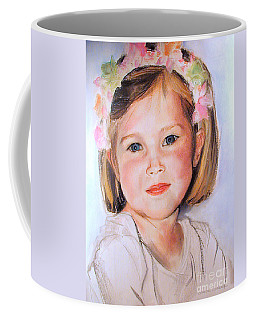 Pastel Portrait Of Girl With Flowers In Her Hair Coffee Mug