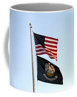 Coffee Mug featuring the photograph Patriotic Flags by Joseph Baril