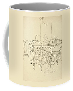 Patterned Chairs At A Restaurant Coffee Mug
