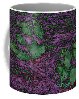 Paw Prints In Green And Mauve Coffee Mug
