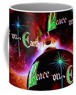 Coffee Mug featuring the photograph Antique Peace On Earth Christmas Ornaments by Vizual Studio