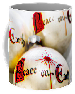 Coffee Mug featuring the photograph Antique Peace On Earth Christmas Decorations by Vizual Studio
