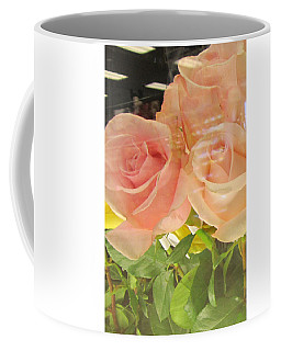 Peach Roses In Greeting Card Coffee Mug