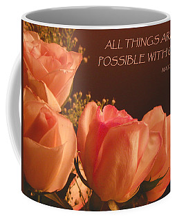 Peach Roses With Scripture Coffee Mug
