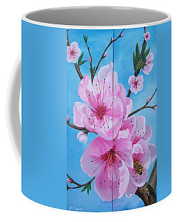 Peach Tree In Bloom Diptych Coffee Mug