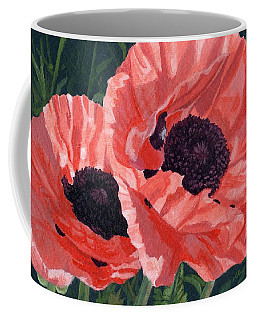 Coffee Mug featuring the painting Peachy Poppies by Lynne Reichhart