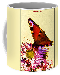 Coffee Mug featuring the digital art Peacock Butterfly by Daniel Janda