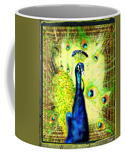 Coffee Mug featuring the drawing Peacock by Daniel Janda