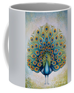 Coffee Mug featuring the painting Peacock by Elena Oleniuc