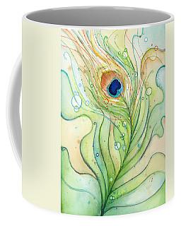 Peacock Feather Watercolor Coffee Mug