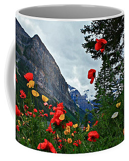 Peaks And Poppies Coffee Mug by Linda Bianic