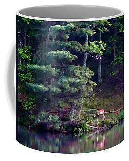Coffee Mug featuring the painting Peaks Of Otter Deer by John Haldane