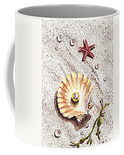 Pearl In The Seashell Sea Star And The Water Drops Coffee Mug