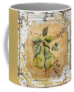 Pears And Dragonfly On Vintage Tin Coffee Mug by Jean Plout