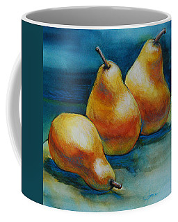 Coffee Mug featuring the painting Pears Of Three by Jani Freimann