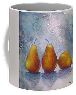 Coffee Mug featuring the painting Pears On Blue Original Acrylic Painting by Chris Hobel