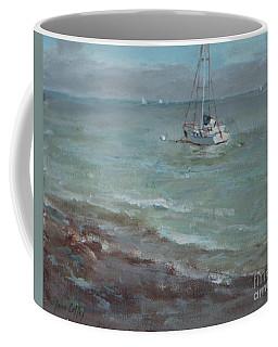 Pebbly Beach Sail Boat Coffee Mug