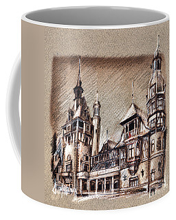 Peles Castle Romania Drawing Coffee Mug