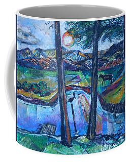 Pelican And Moose In Landscape Coffee Mug