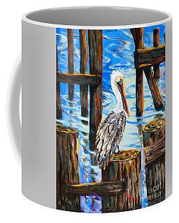 Pelican And Pilings Coffee Mug