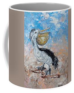 Coffee Mug featuring the painting Pelican Beach Walk - Impressionist by Eloise Schneider