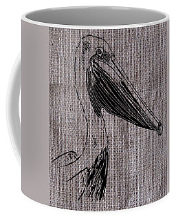 Pelican On Burlap Coffee Mug