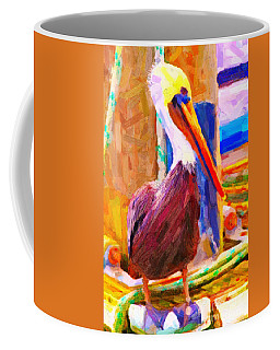 Pelican On The Dock Coffee Mug