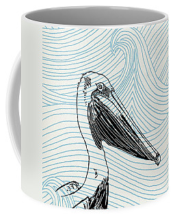 Pelican On Waves Coffee Mug
