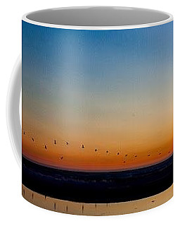 Coffee Mug featuring the photograph Pelican Parade by Lora Lee Chapman