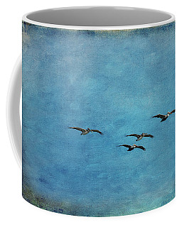 Coffee Mug featuring the photograph Pelicans In Flight by Mary Jo Allen