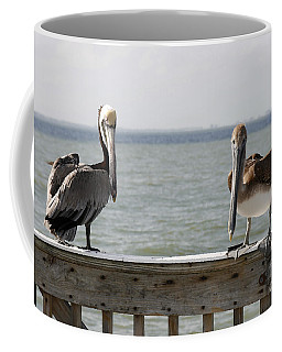 Pelicans On The Pier At Fort Myers Beach In Florida Coffee Mug
