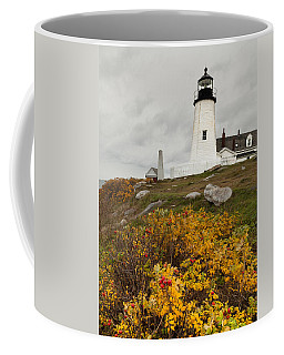 Pemaquid Point Lighthouse And Sea Roses Coffee Mug
