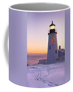 Pemaquid Point Lighthouse Christmas Snow Wreath Maine Coffee Mug
