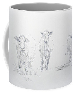 Pencil Drawing Of Three Cows Coffee Mug