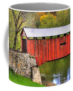 Pennsylvania Country Roads - Dellville Covered Bridge Over Sherman Creek No. 6b - Perry County Coffee Mug by Michael Mazaika