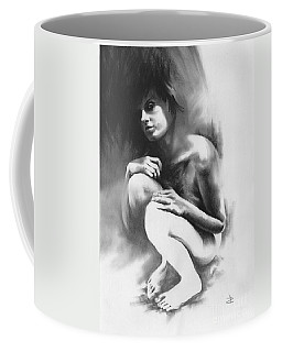 Coffee Mug featuring the drawing Pensive by Paul Davenport
