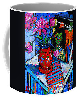 Peonies And Art Book Coffee Mug