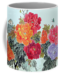 Peonies And Birds Coffee Mug