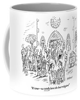 People Are Seen Exiting Church With Giant #1 Foam Coffee Mug