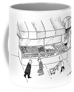 People Are Seen Walking Past A Produce Stand Coffee Mug